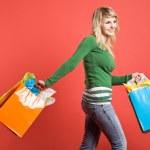 Shopping caucasian girl — Stock Photo #5454334