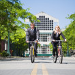 Business riding bicycle — Stock Photo #5454734