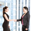 Stock Photo: Two businesswomen shaking hands