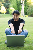 Happy asian college student — Stock Photo