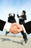 Success businessmen shaking hands — Stock Photo