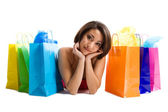 Shopping black woman — Stock Photo