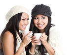 Mulheres asiáticas, bebendo café — Foto Stock
