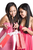 Asian women receiving valentine gifts — Stock Photo