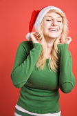 Beautiful santa girl — Stockfoto