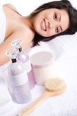 Beautiful asian spa girl — Stock Photo