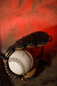 Baseball ball and glove — Stock Photo
