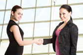 Two businesswomen shaking hands — Stock Photo