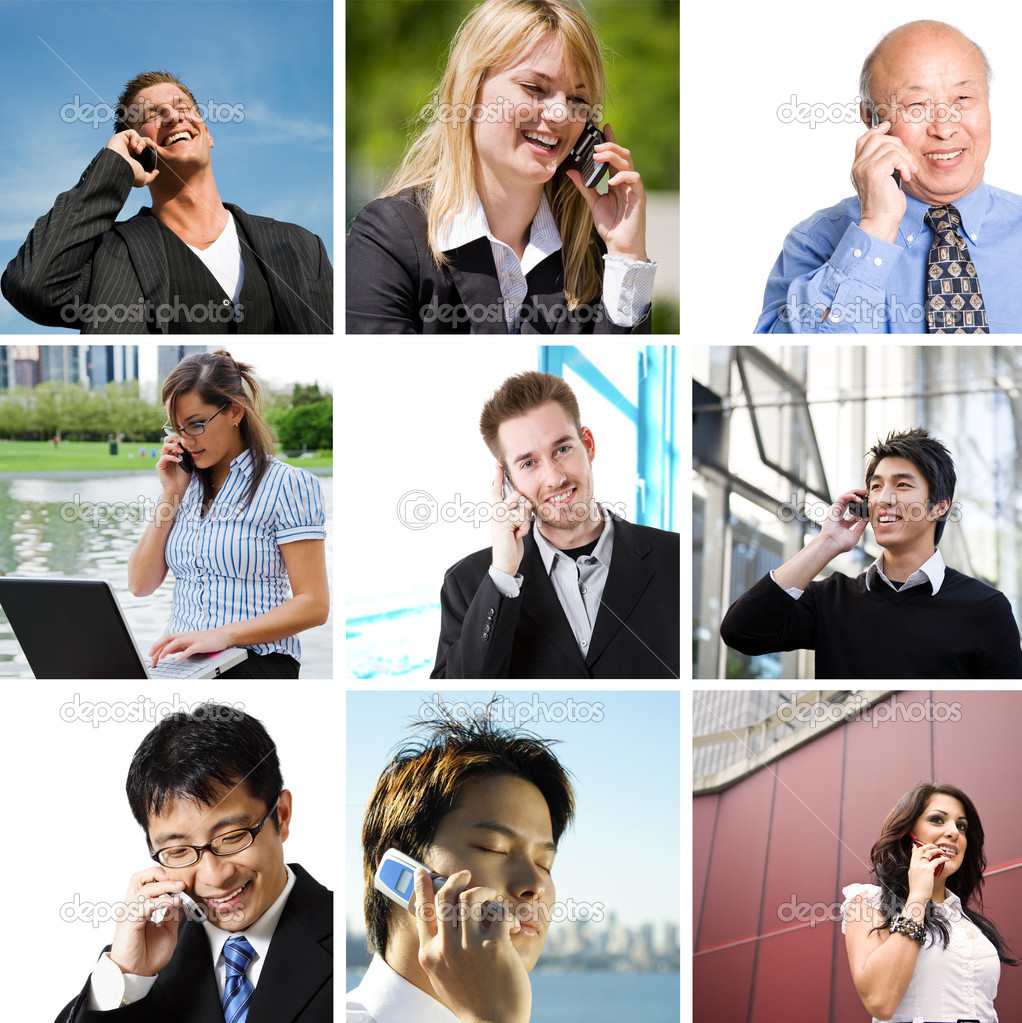A collage of diverse business talking on the phone  Stock Photo #5453630
