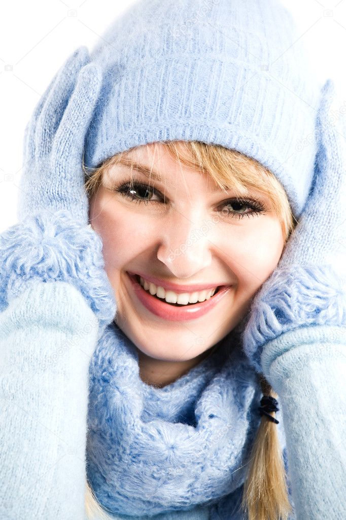 A beautiful caucasian girl in winter clothing  Stock Photo #5454313