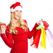 Christmas shopping santa girl — Stock Photo