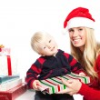 Stock Photo: christmas family gifts