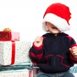 Boy with christmas gift — Stock Photo #5567478