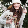 Teenager and her dog — Stock Photo