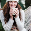 Beautiful teenager drinking coffee — Stock Photo
