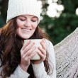 Royalty-Free Stock Photo: Beautiful teenager drinking coffee