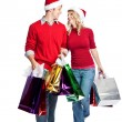 Christmas shopping couple — Stock Photo