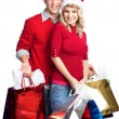 Christmas shopping couple — Stockfoto