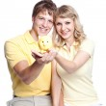 Young couple saving money — Stock Photo