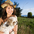 Summer girl with her dog — Stock Photo