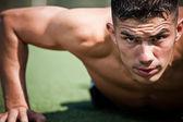 Hispanic athlete push-up — Stock Photo