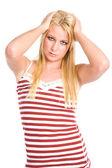 Sad and depressed beautiful caucasian woman — Stock Photo
