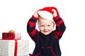 Boy with christmas gift — Stockfoto