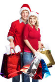 Christmas shopping couple — Stock Photo