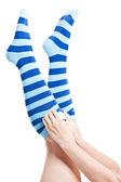 Stripes socks legs — Stock Photo
