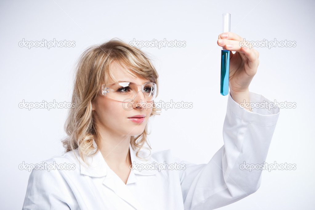 A shot of a caucasian female scientist — Stock Photo #5568192