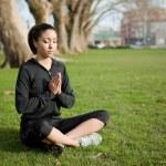 Meditating yoga woman — Stock Photo
