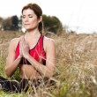 Meditating yoga woman - Stock Photo