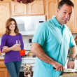 Couple in kitchen — Foto de Stock