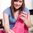 Teenager polishing her nails — Stock Photo