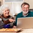 Senior couple using computer - Stock Photo
