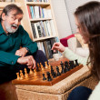 Senior playing chess — Stock Photo