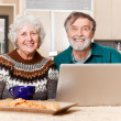 Senior couple using computer — Stock Photo