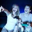Couple playing video games - Foto Stock