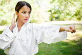 Asian practicing karate — Stock Photo
