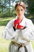 Asian practicing karate — Stock Photo