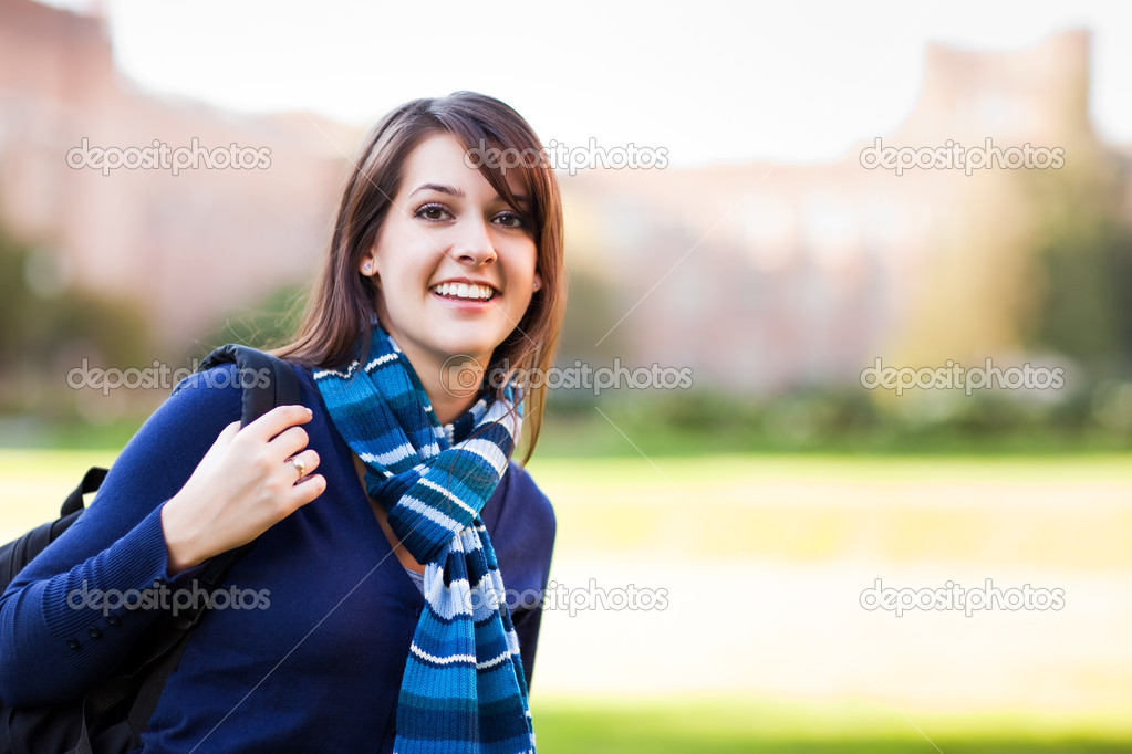 A portrait of a mixed race college student at campus — Stock Photo #5653371