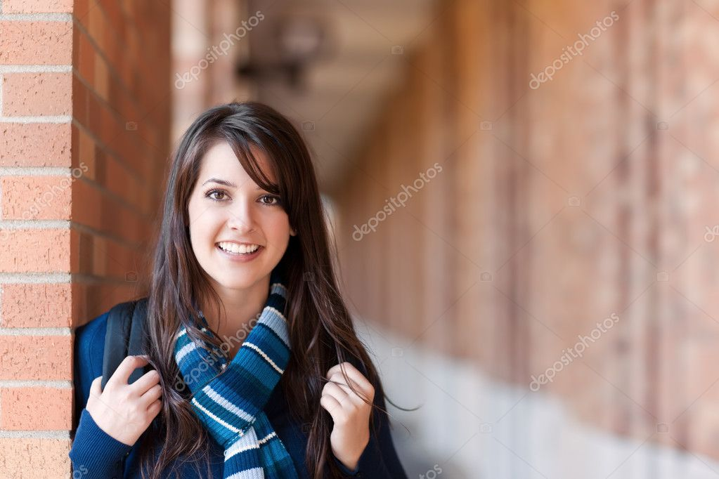 A portrait of a mixed race college student at campus — Stock Photo #5653403