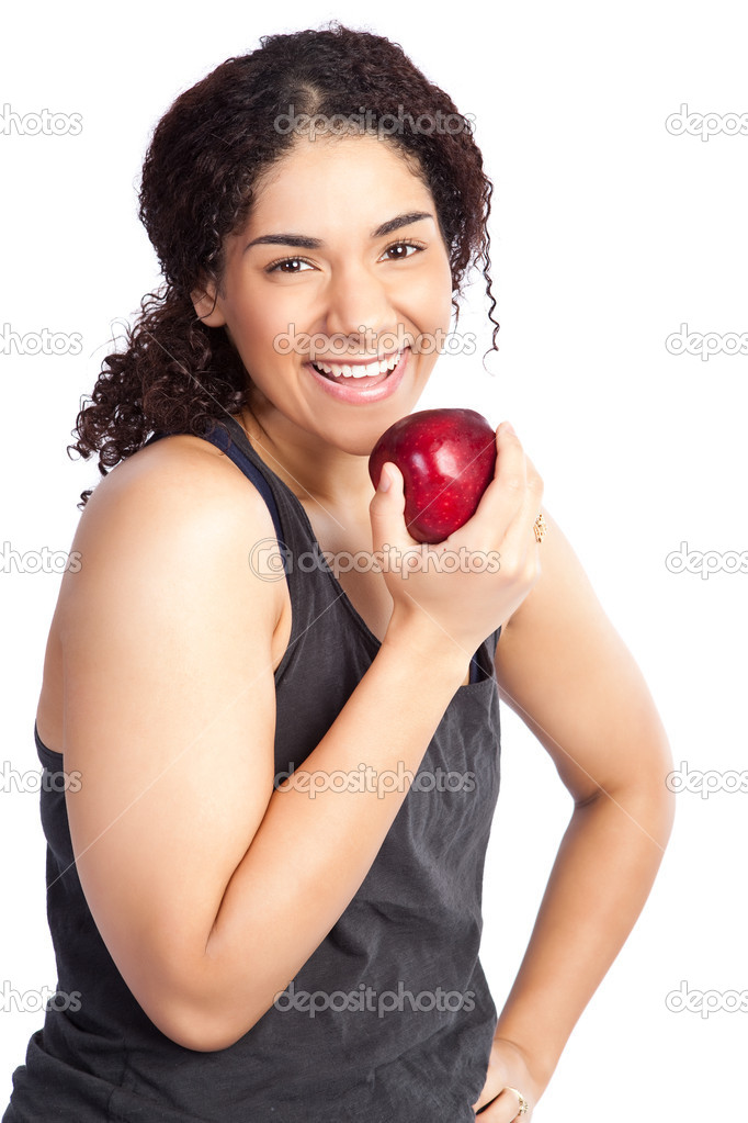 An isolated shot of a woman eating an apple — Stock Photo #5654586