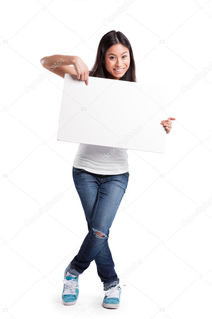 An isolated shot of a beautiful asian woman holding a blank poster — Zdjęcie stockowe #5655419
