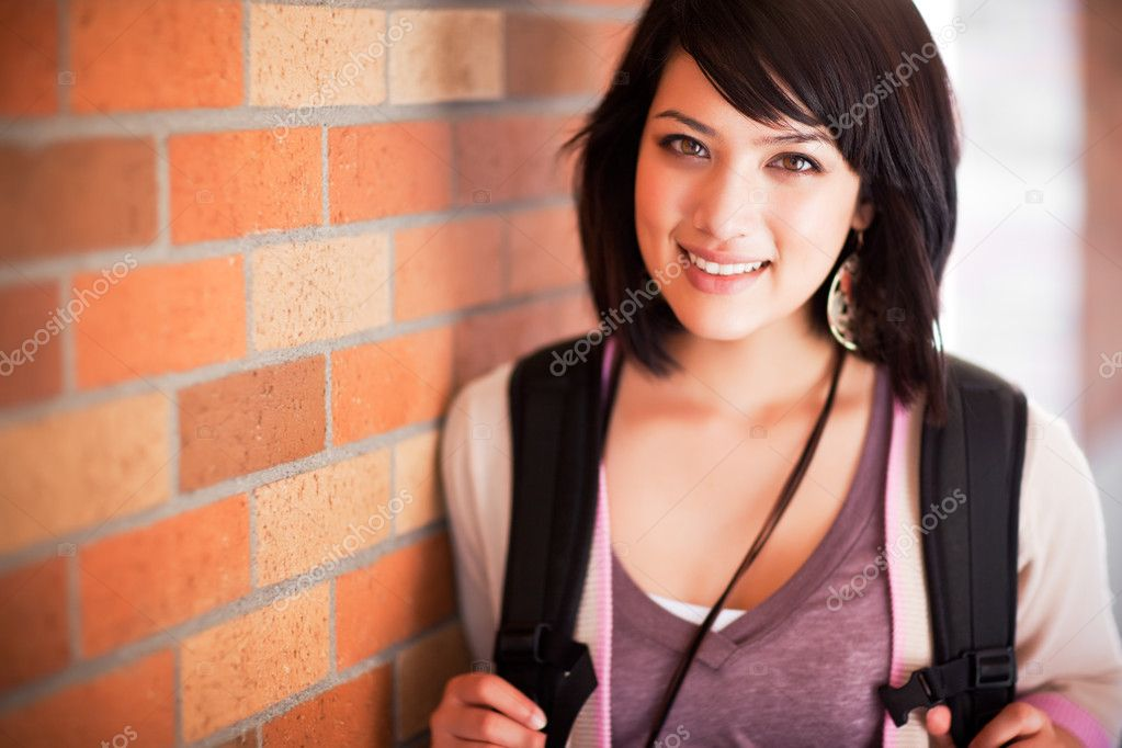 A portrait of a mixed race college student at campus — Stock Photo #5655781