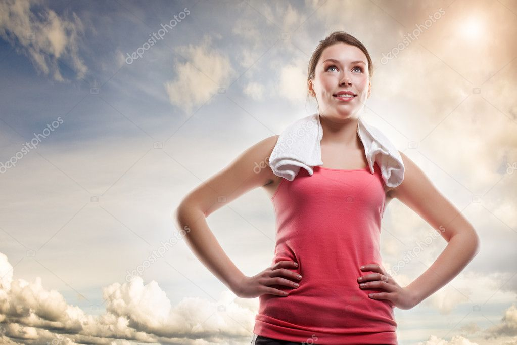 A shot of a beautiful sporty caucasian woman outdoor — Stock Photo #5821964