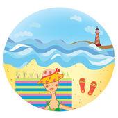 Sea icon with girl on the beach — Stock Vector