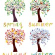 Set of season trees in childish style — Stock Vector