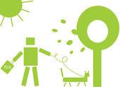 Robot et chien du monde écologique — Vecteur