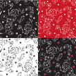 Floral graphic seamless pattern set — Stock Vector